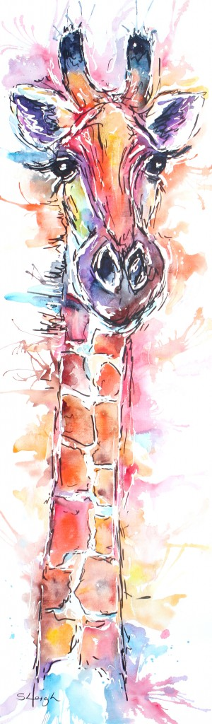 giraffe watercolour, watercolour giraffe, watercolour giraffe painting, watercolour print