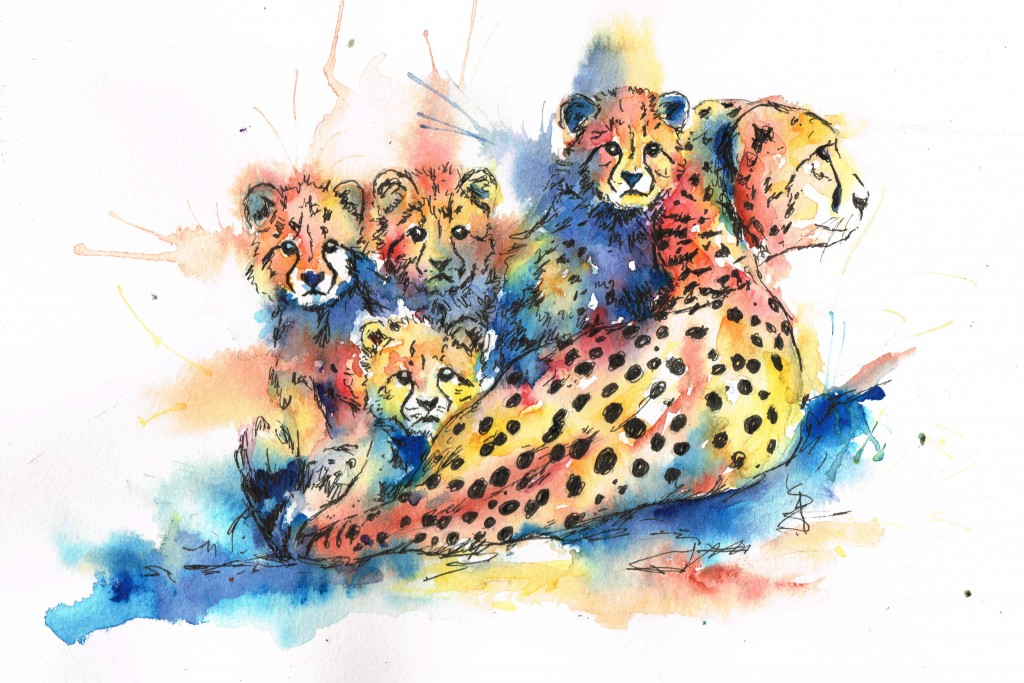 cheetah watercolour, watercolour, cheetah, cheetah family, watercolour cheetahs, watercolour painting, watercolour art, animal art, animal artist, watercolour artist
