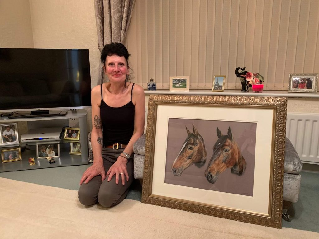 Clietn with her double horse portrait