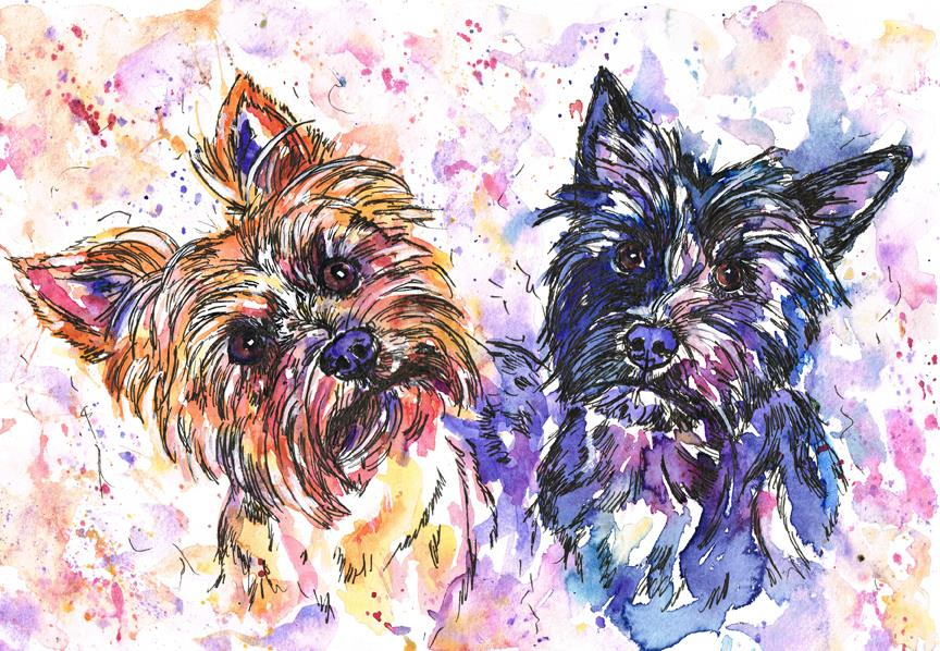 Poppy and Winifred, double terrier dog portrait in bright watercolours and pen.