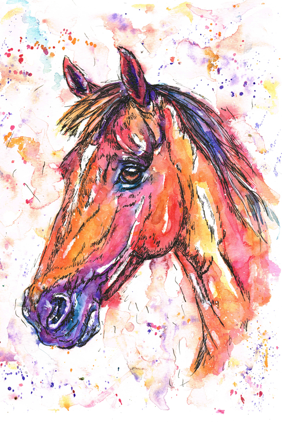Dollar, pony portrait in watercolours. Reds, oranges, purples and pinks have been used to paint this lovely pony's portrait.