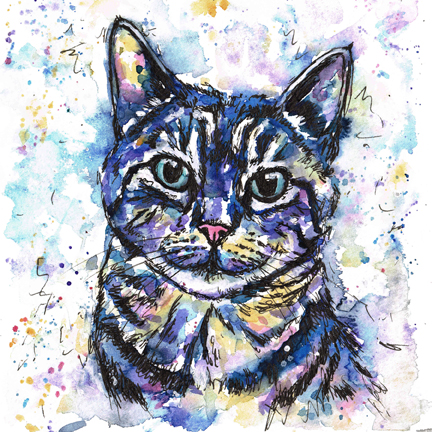 Toby, the tabby cat. Pet portrait painted in watercolours in the Jolly Splashes style, using blues, purples and yellow