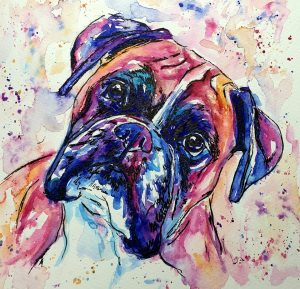 Jolly Splashes Boxer Dog portrait in bright pinks, purples blues and oranges