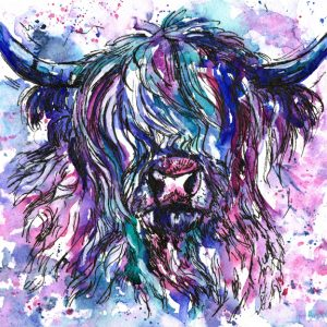 Painting of a highland cow in watercolours