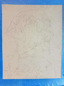 Outline drawing for a dog portrait