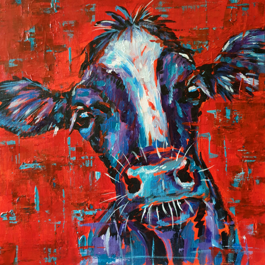 Cow portrait in acrylics, paintied with a palette knife and thick brush. Reds, teal, blue and purples used and on deep edge canvas