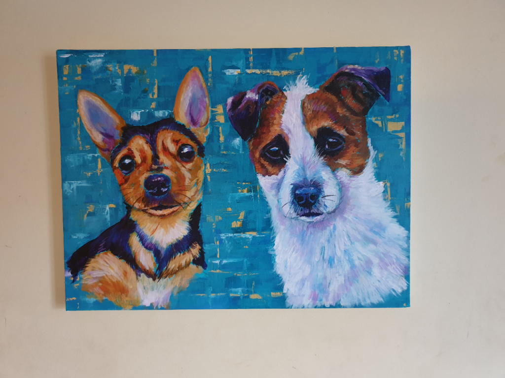Pet portrait, acrylic on canvas. My two dogs Luke and Maggie
