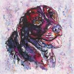 Morgan, labrador dog portrait in watercolours on deep edge canvas