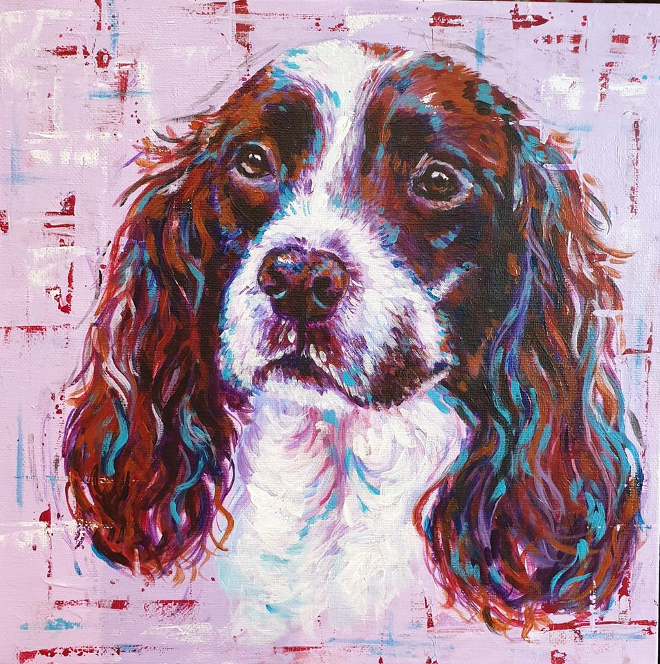 Dog portrait in acrylics of a springer spaniel by pet portrait artist Sarah Leigh