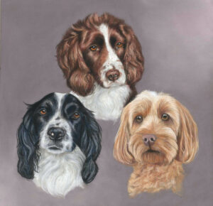 triple dog portrait in pastels