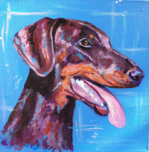 Ruby, doberman dog portrait in bright acrylics
