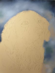 Tia, pastel dog portrait of a golden retriever
