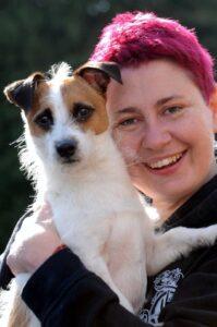 Knockholt Artist Sarah Leigh with her dog Luke